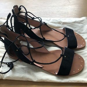 Madewell black suede lace up sandals